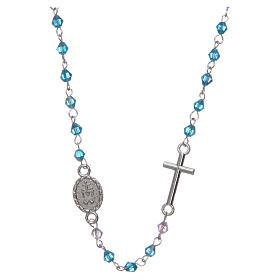 Rosario collar medio cristal 3 mm ovalado azul iridiscente s2
