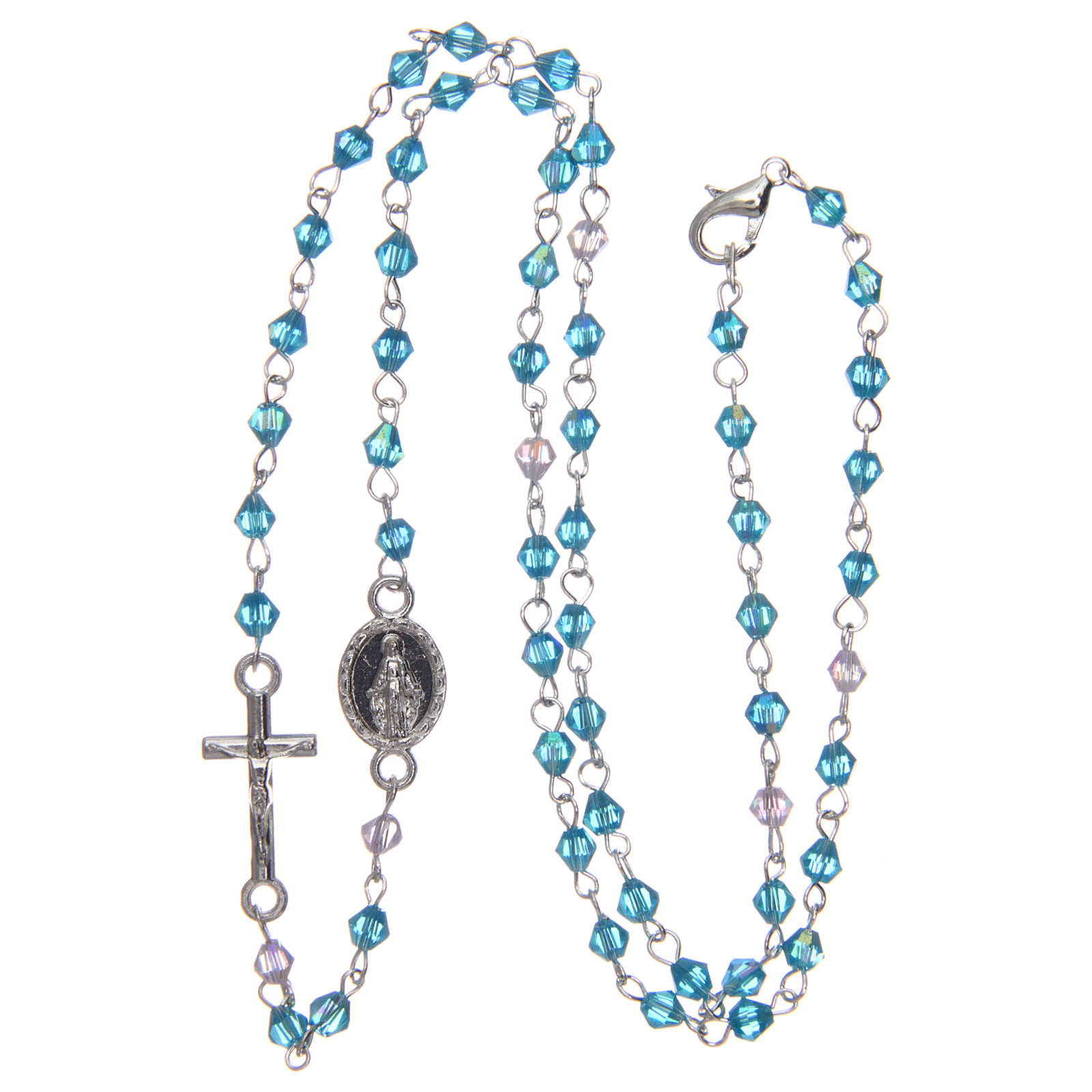 Rosario a collana mezzo cristallo 3 mm ovale azzurro iridescente 4