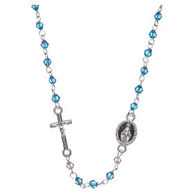 Necklace rosary semi-crystal 3 mm oval light blue iridescent beads s1