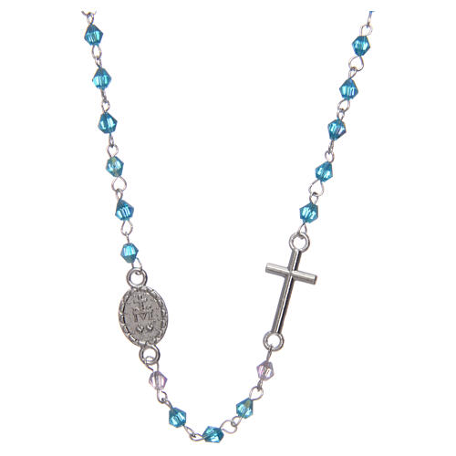 Necklace rosary semi-crystal 3 mm oval light blue iridescent beads 2