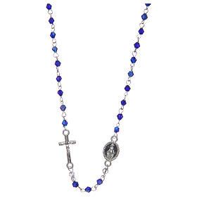 Rosari vetro: Rosario a collana mezzo cristallo ovale  3 mm blu iridescente