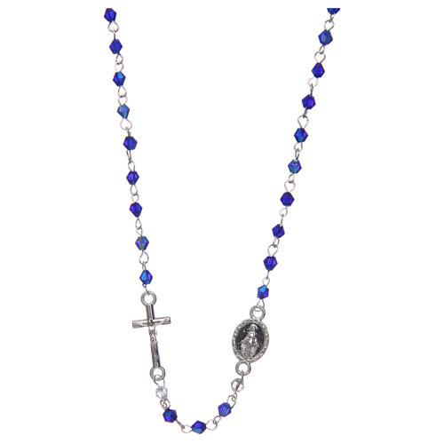 Rosario a collana mezzo cristallo ovale  3 mm blu iridescente 1