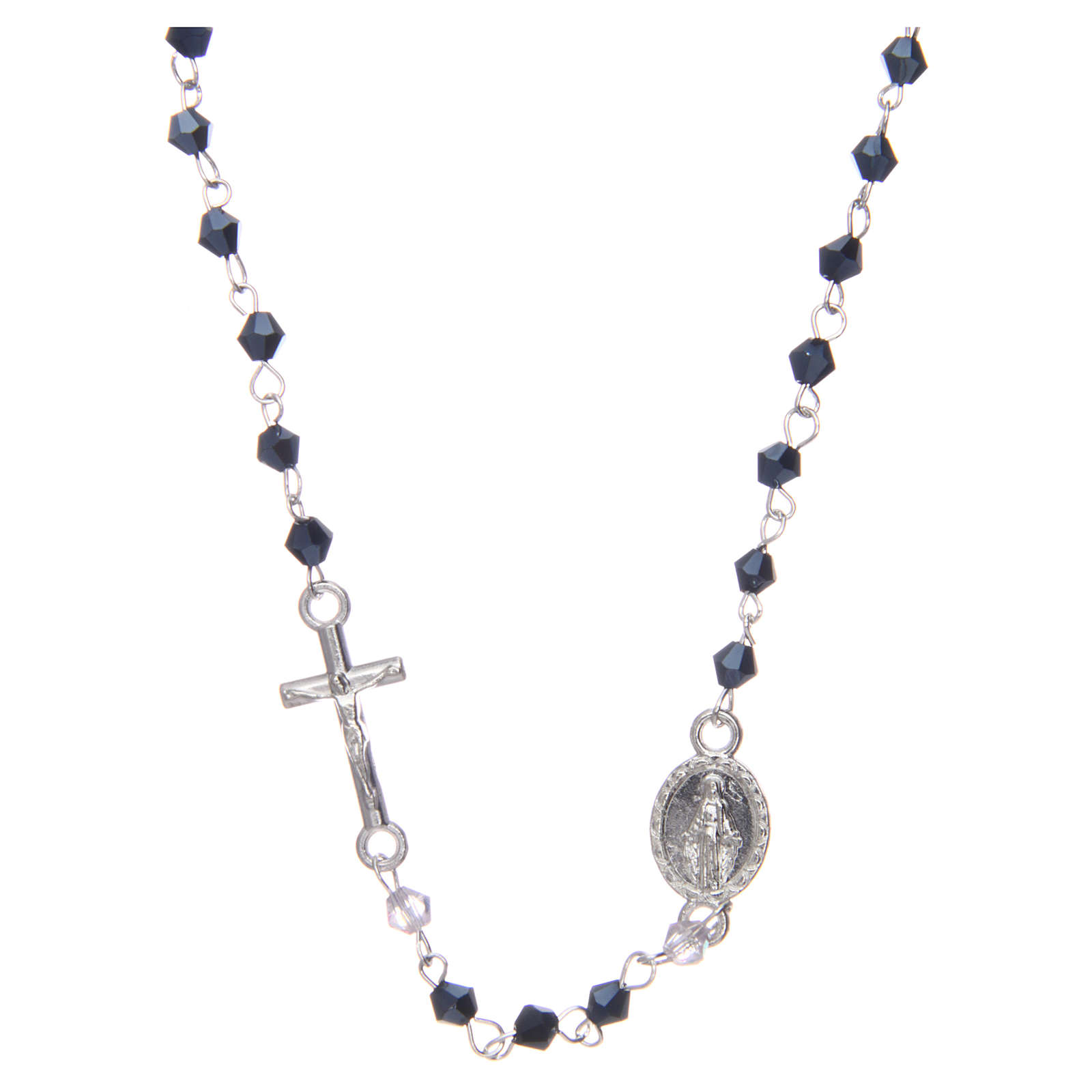Wearable rosary with 3mm oval beads in black iridescent crystal 4