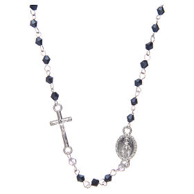 Wearable rosary with 3mm oval beads in black iridescent crystal s1