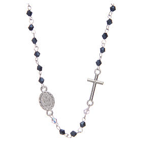 Wearable rosary with 3mm oval beads in black iridescent crystal s2