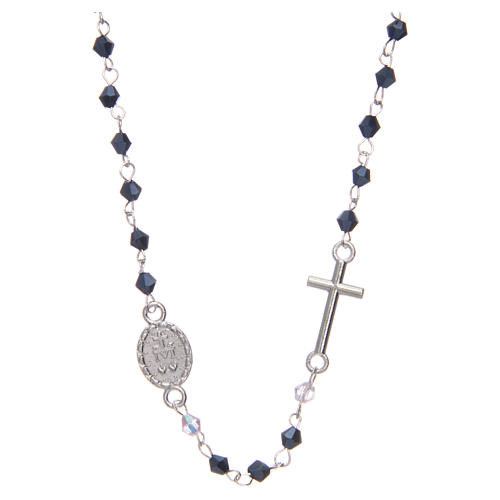 Wearable rosary with 3mm oval beads in black iridescent crystal 2