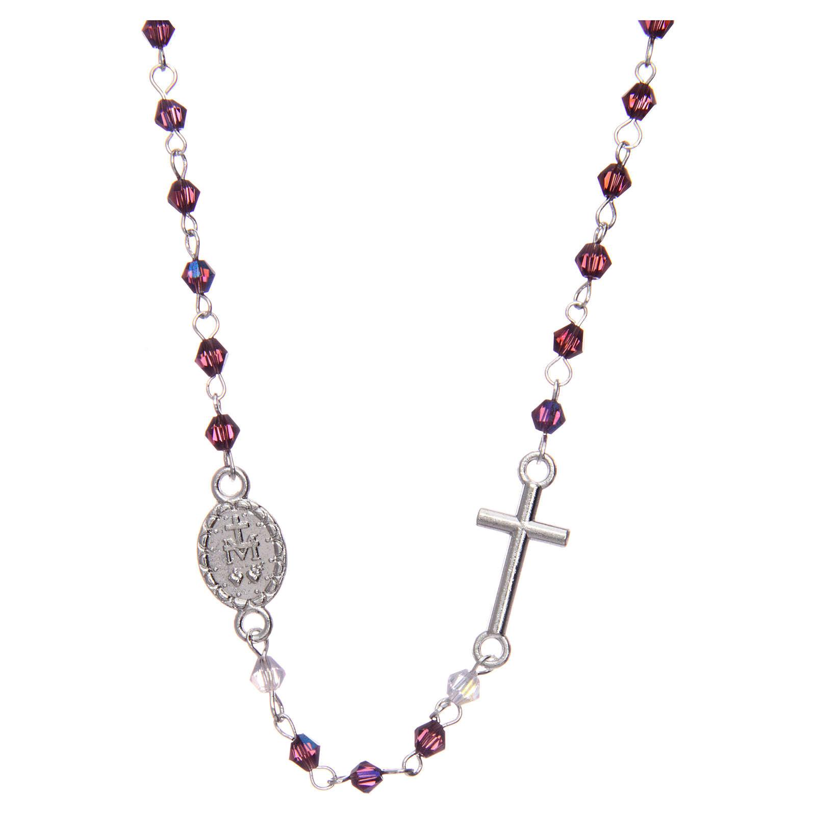 Rosario collar medio cristal ovalado 3 mm violeta iridiscente 4