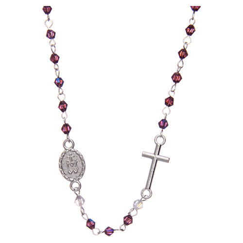 Rosario collar medio cristal ovalado 3 mm violeta iridiscente 2