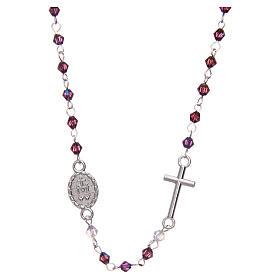 Rosario a collana mezzo cristallo ovale 3 mm viola iridescente