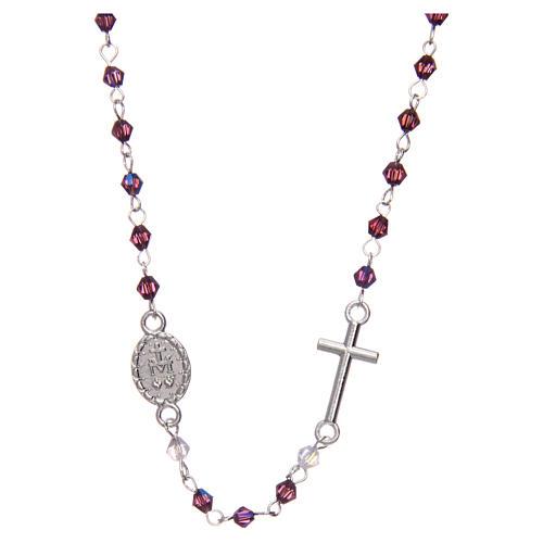 Rosario a collana mezzo cristallo ovale 3 mm viola iridescente 2
