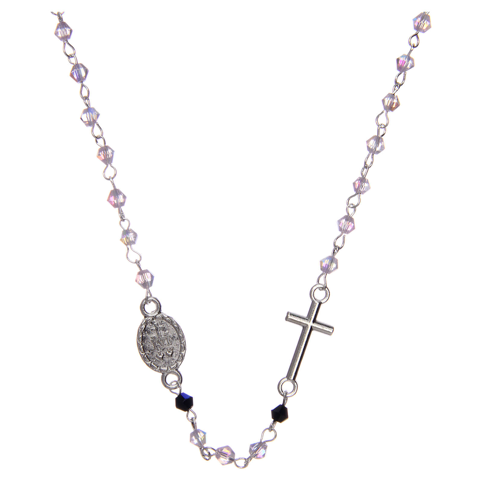 Wearable rosary with 3mm oval beads in transparent and iridescent crystal 4