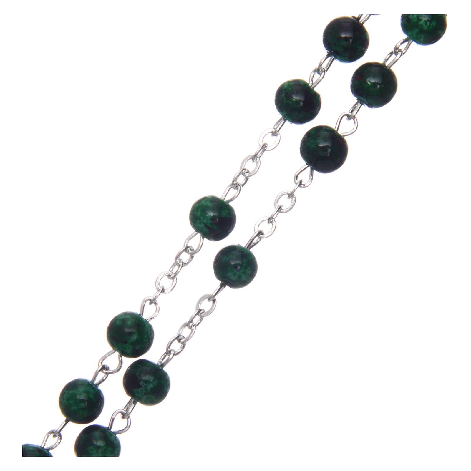Chapelet verre rond vert 6 mm 4