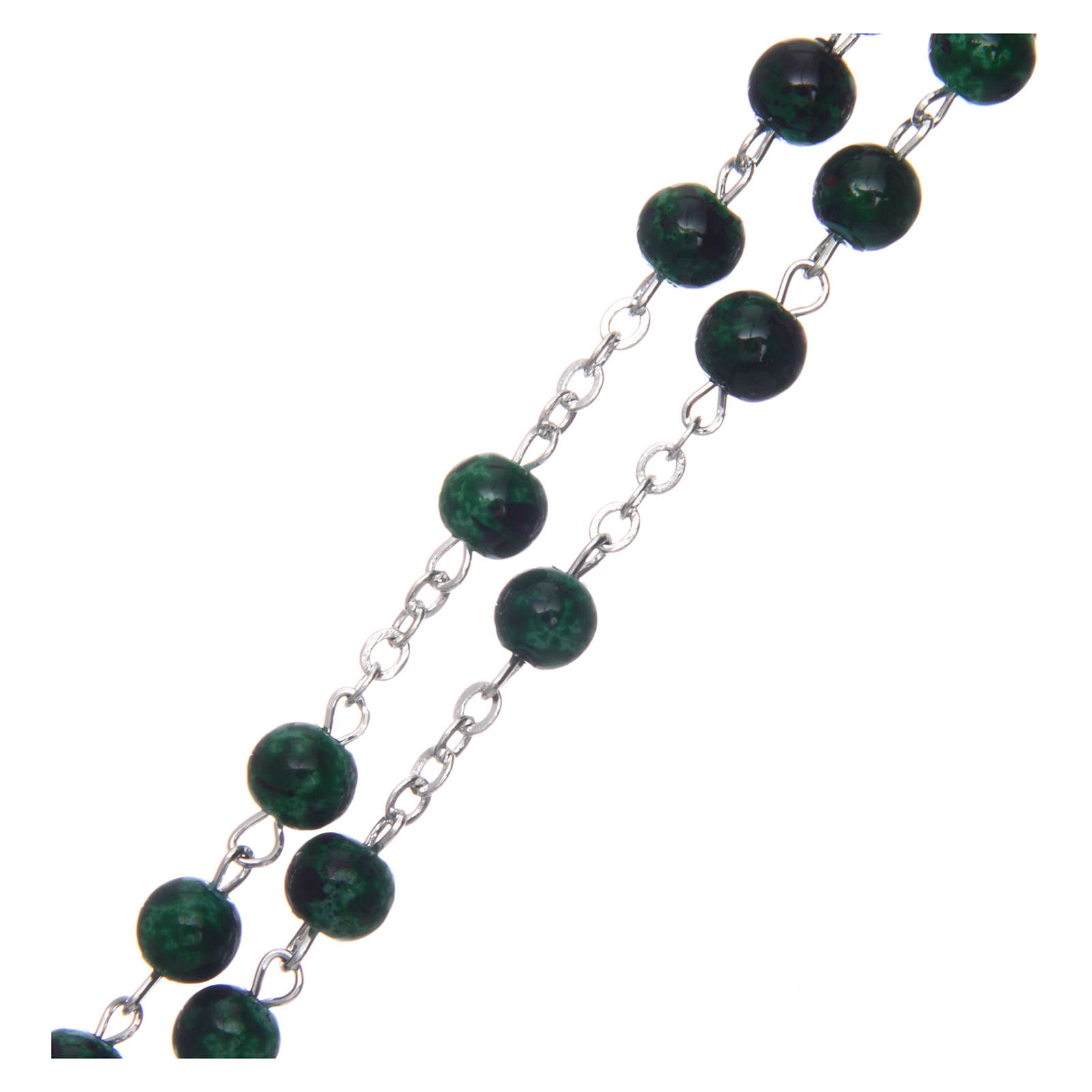 Różaniec szklany okrągły zielony 6 mm 4