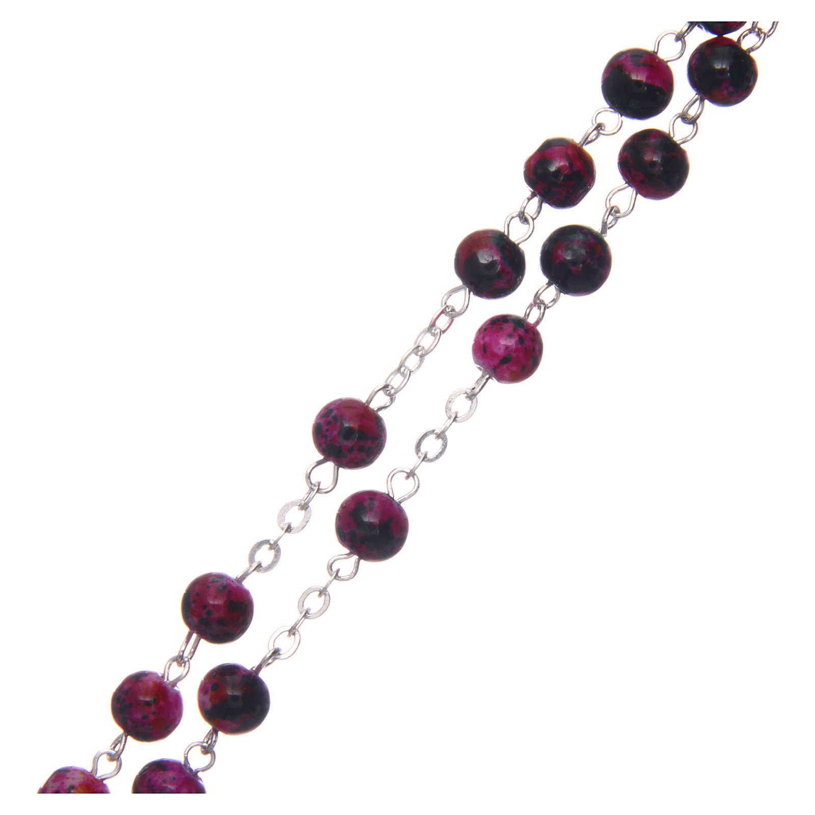 Rosary in semi-crystal with 6mm round fuchsia and black beads 4