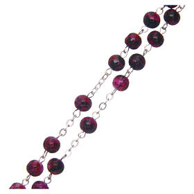 Rosary in semi-crystal with 6mm round fuchsia and black beads s3