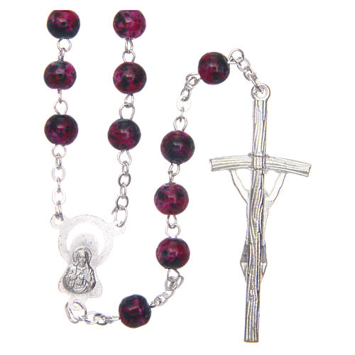 Rosary in semi-crystal with 6mm round fuchsia and black beads 2