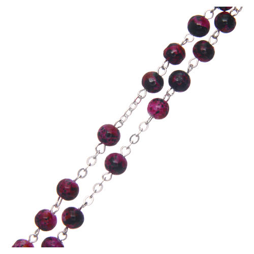 Rosary in semi-crystal with 6mm round fuchsia and black beads 3