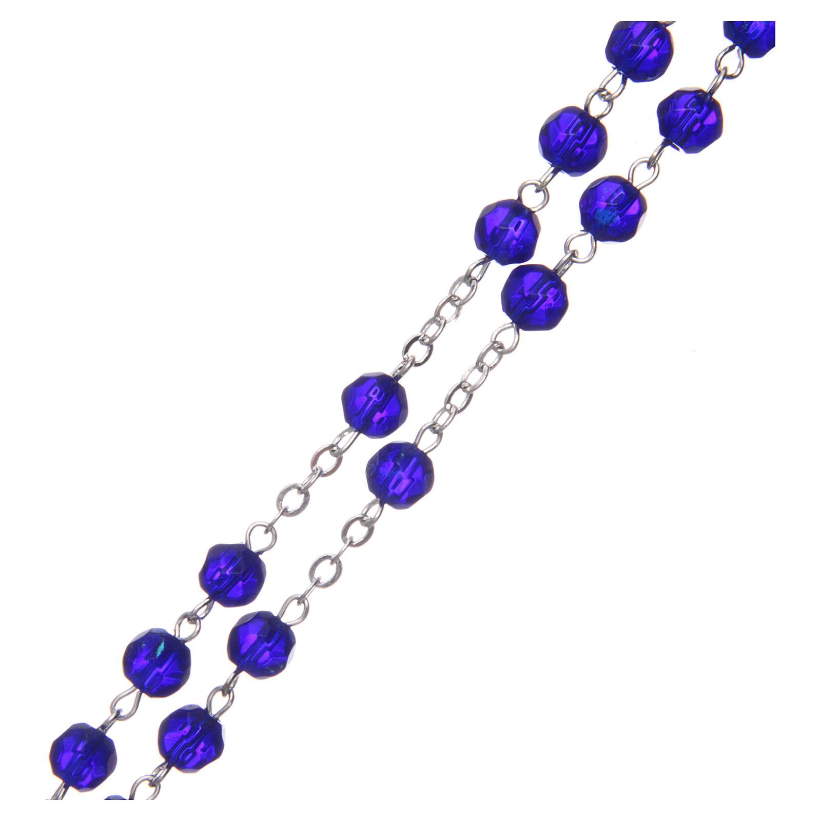 Terço meio-cristal azul escuro redondo 6 mm 4