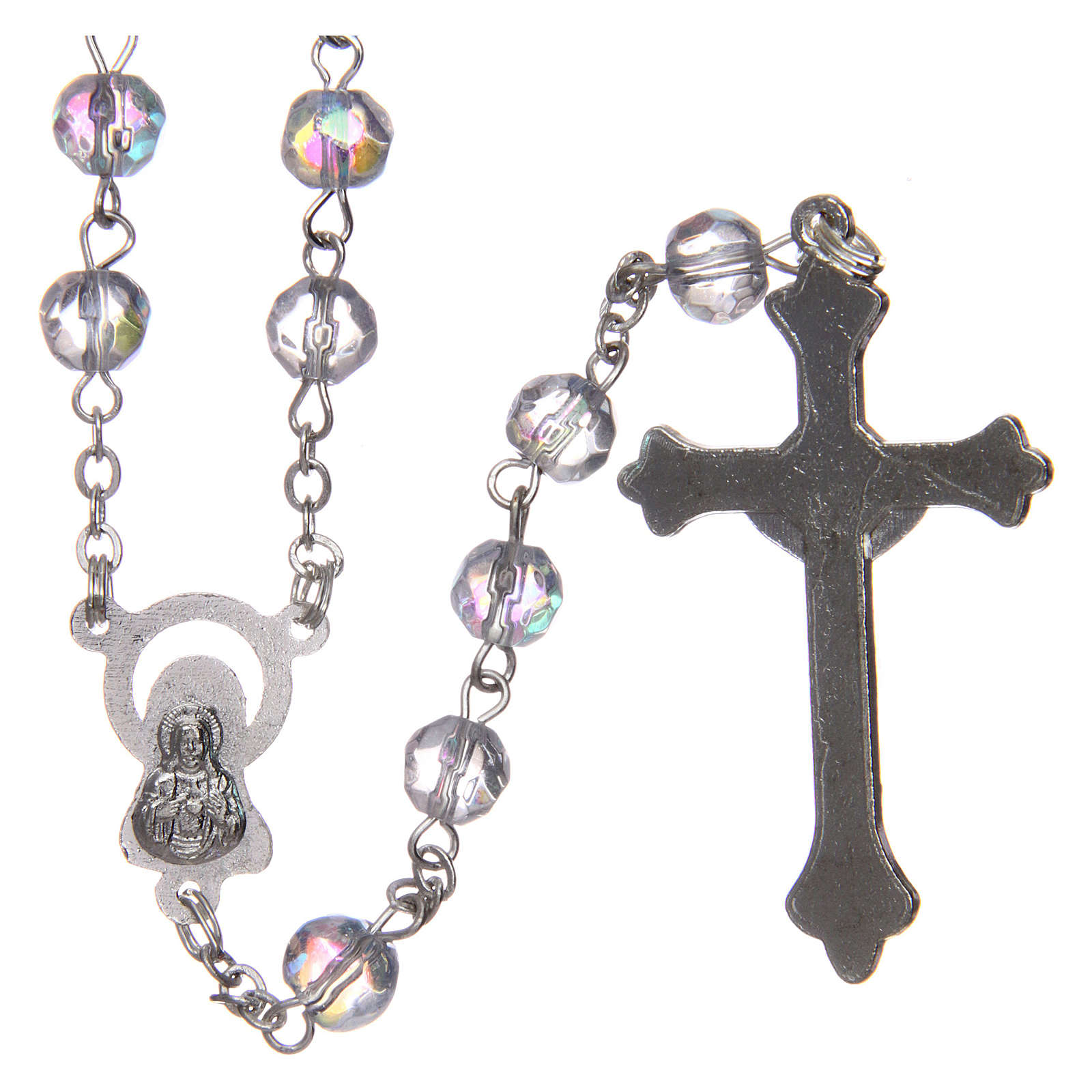 Rosary in semi-crystal with 6mm round white beads 4