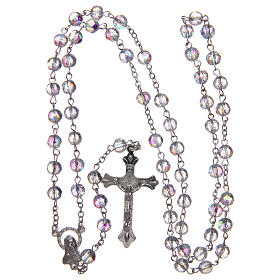 Rosary in semi-crystal with 6mm round white beads s4