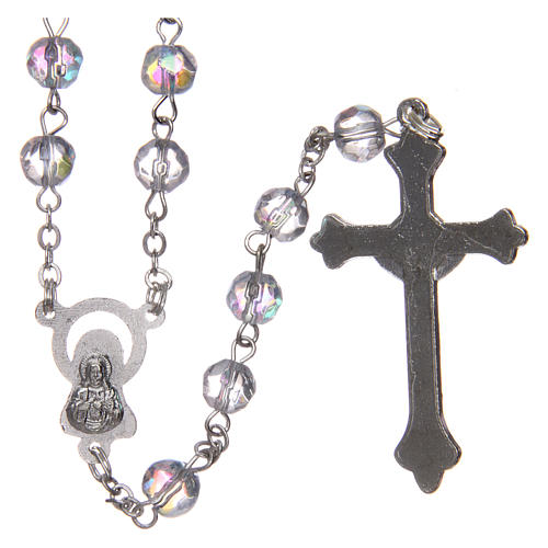 Rosary in semi-crystal with 6mm round white beads 2