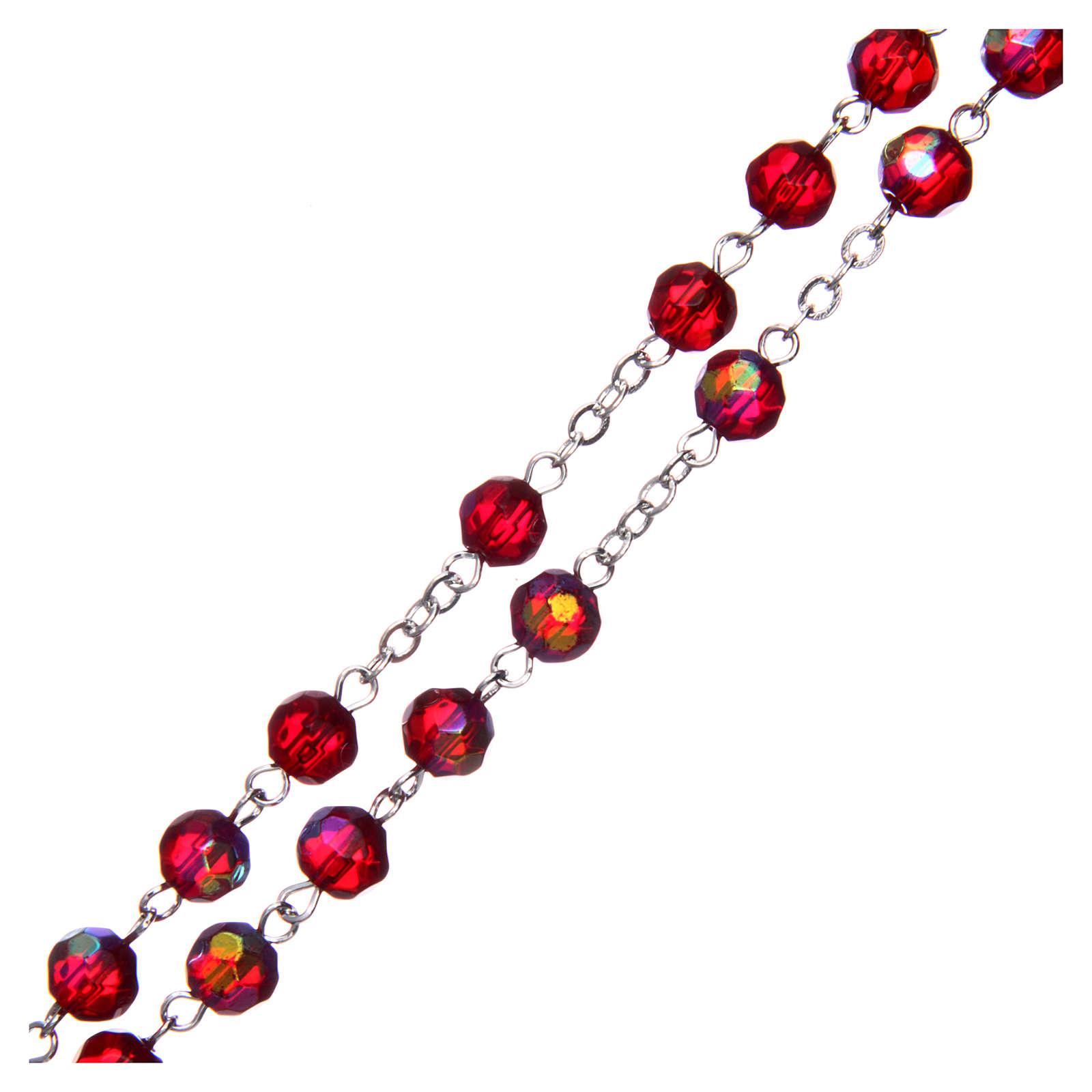 Rosario medio cristal rojo redondo 6 mm 4