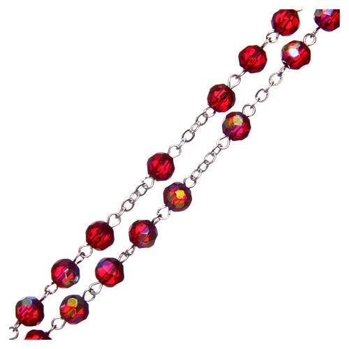 Rosario medio cristal rojo redondo 6 mm 3