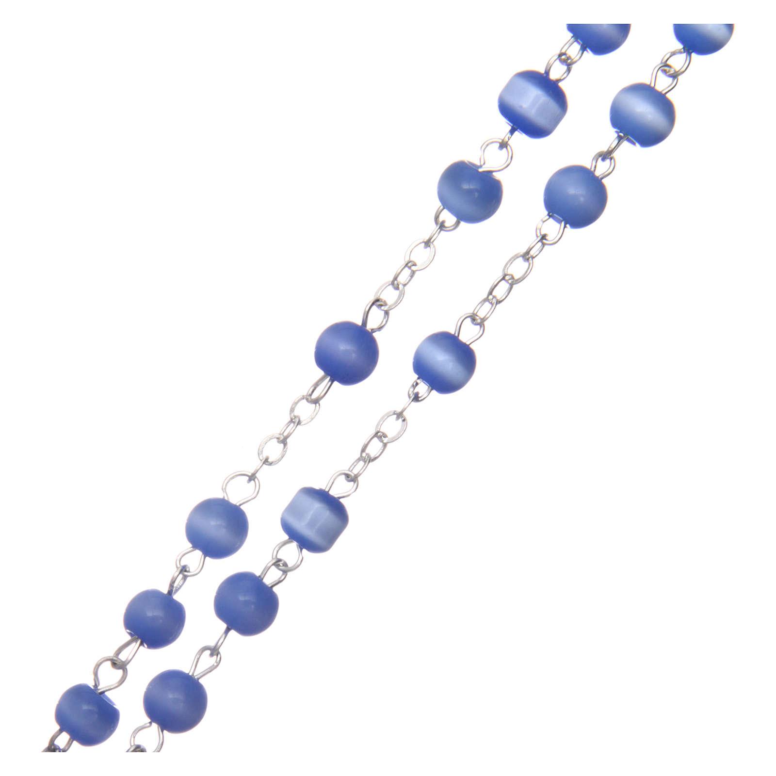 Rosario vetro grano tondo blu 5 mm  4