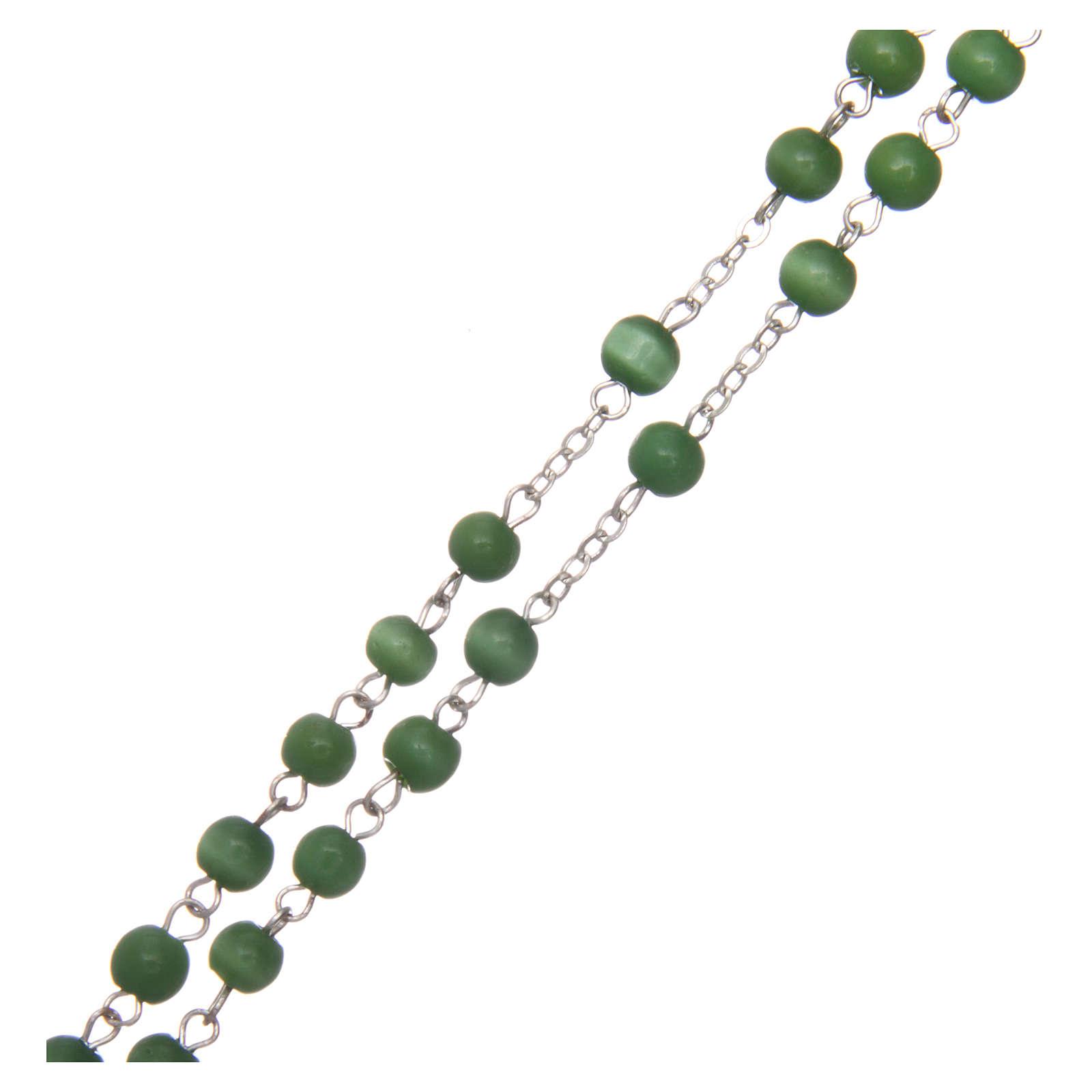 Rosario vetro grano tondo verde 5 mm  4