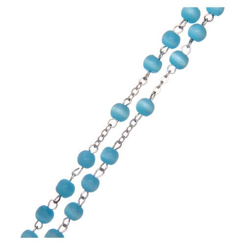 Rosario vetro grano tondo azzurro 5 mm  3
