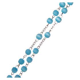 Terço vidro contas redondas azuis claros 5 mm s3