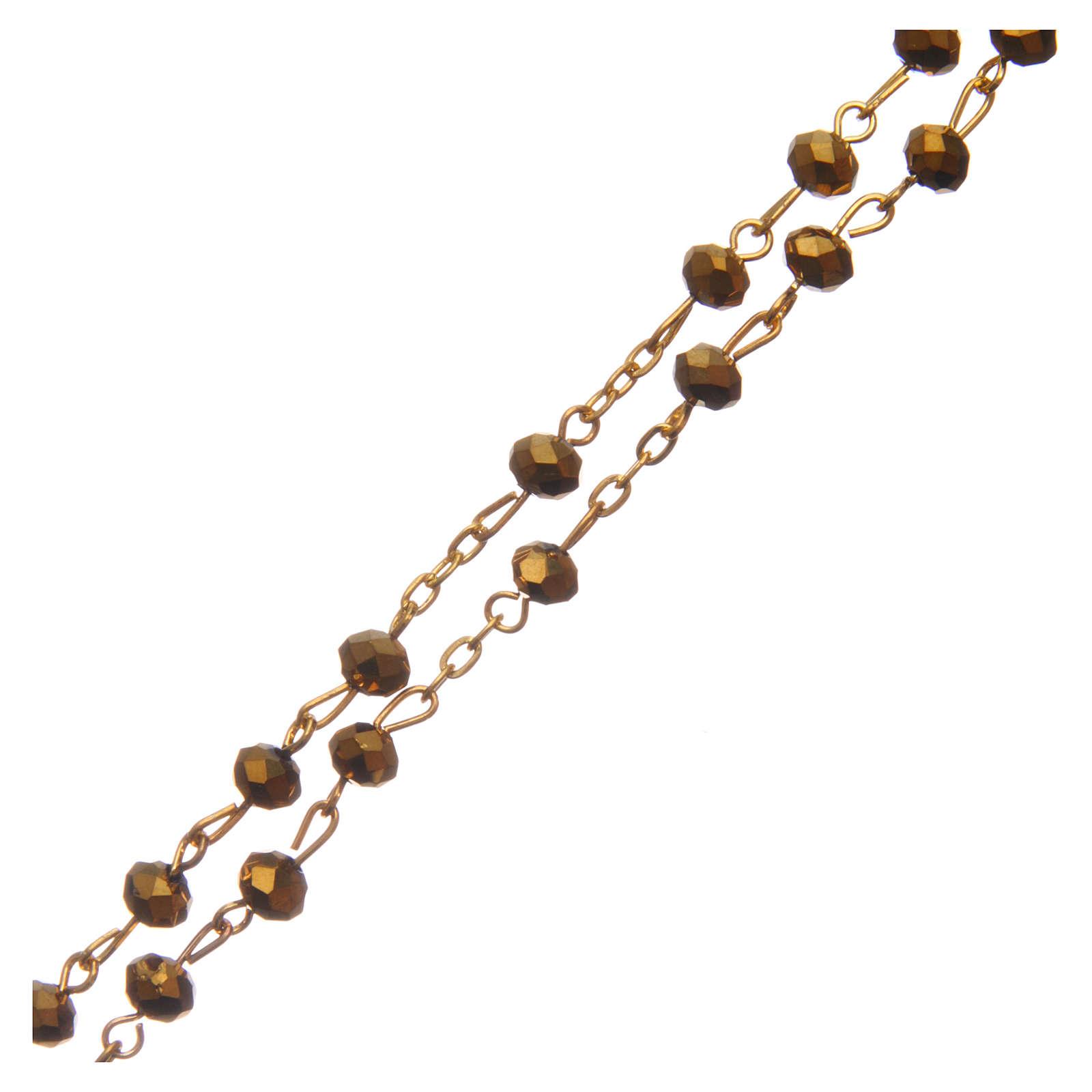 Różaniec szkło szlifowane złoty 6 mm 4