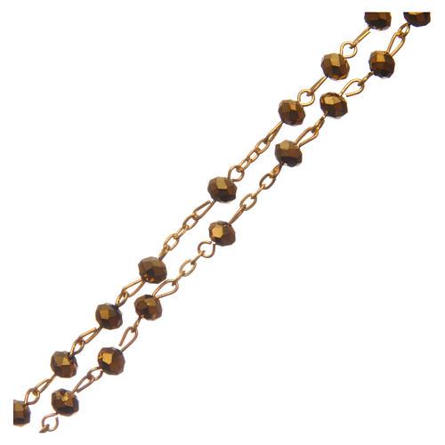 Różaniec szkło szlifowane złoty 6 mm 3