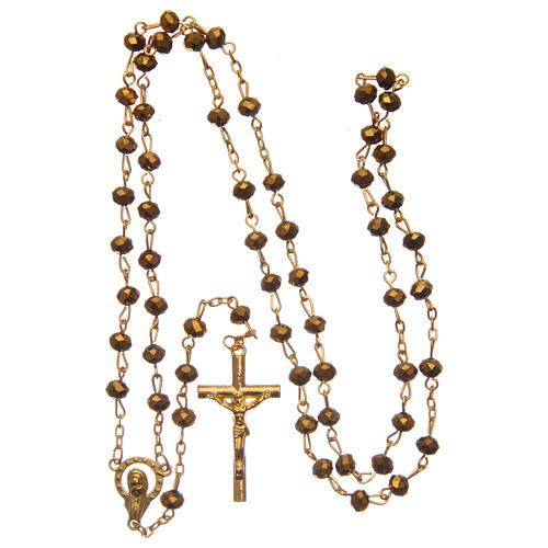 Glass rosary faceted golden beads 6 mm 4