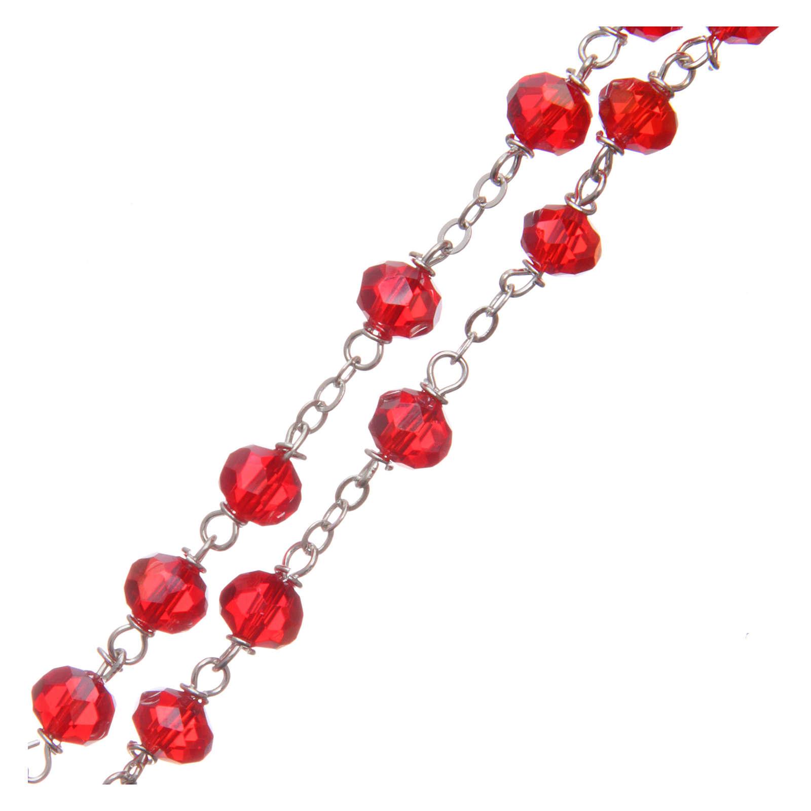 Chapelet cristal à facettes rouge grains 8 mm 4