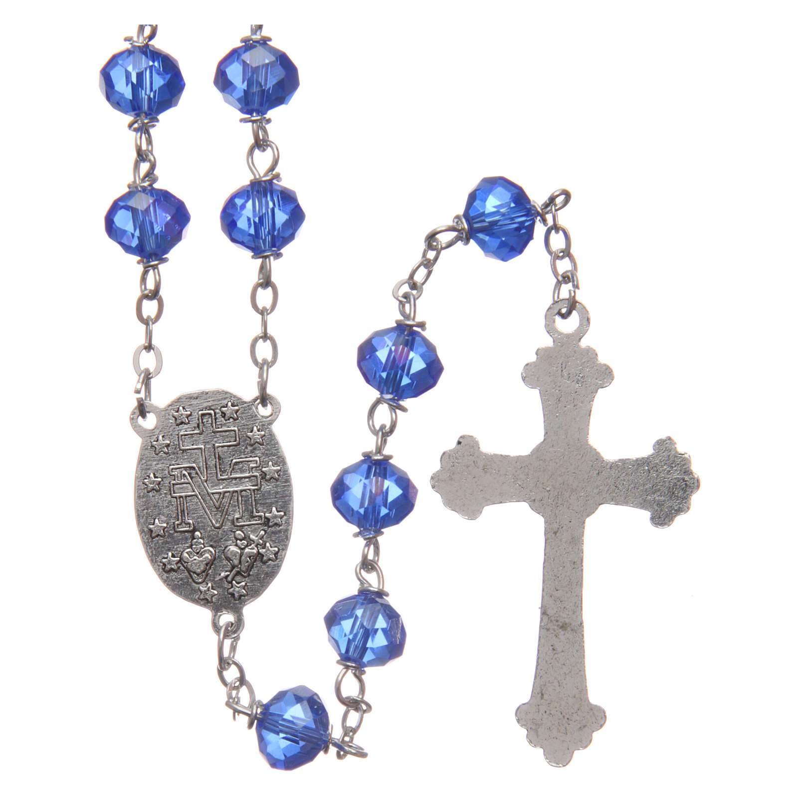 Rosary in blue faceted crystal 8 mm 4