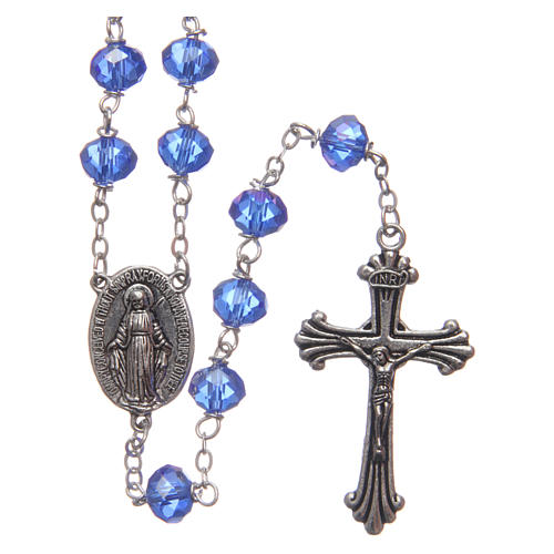Rosary in blue faceted crystal 8 mm 1