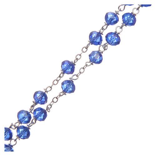 Rosario cristal tallado azul 8 mm 3