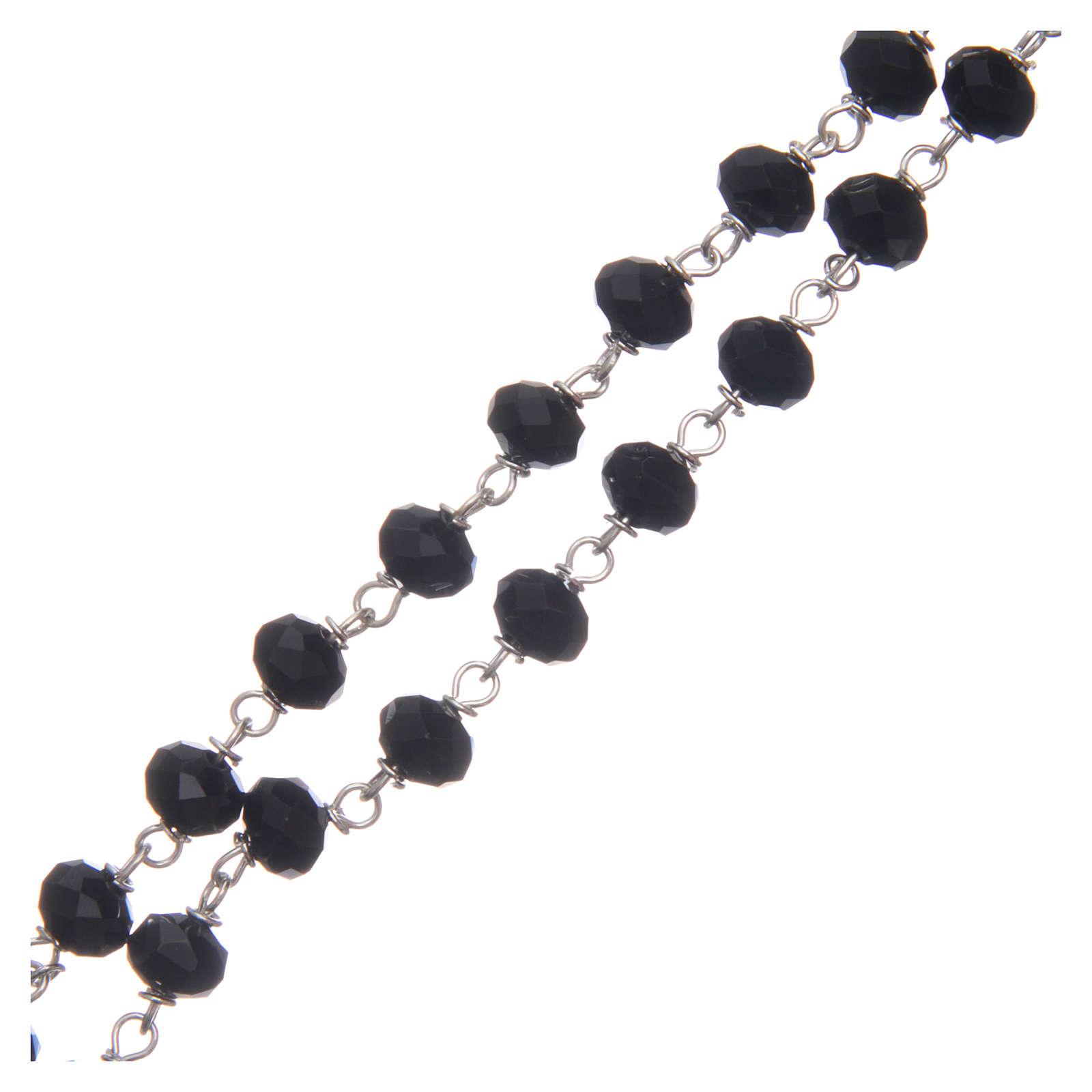 Chapelet cristal à facettes noir avec grains 8 mm 4