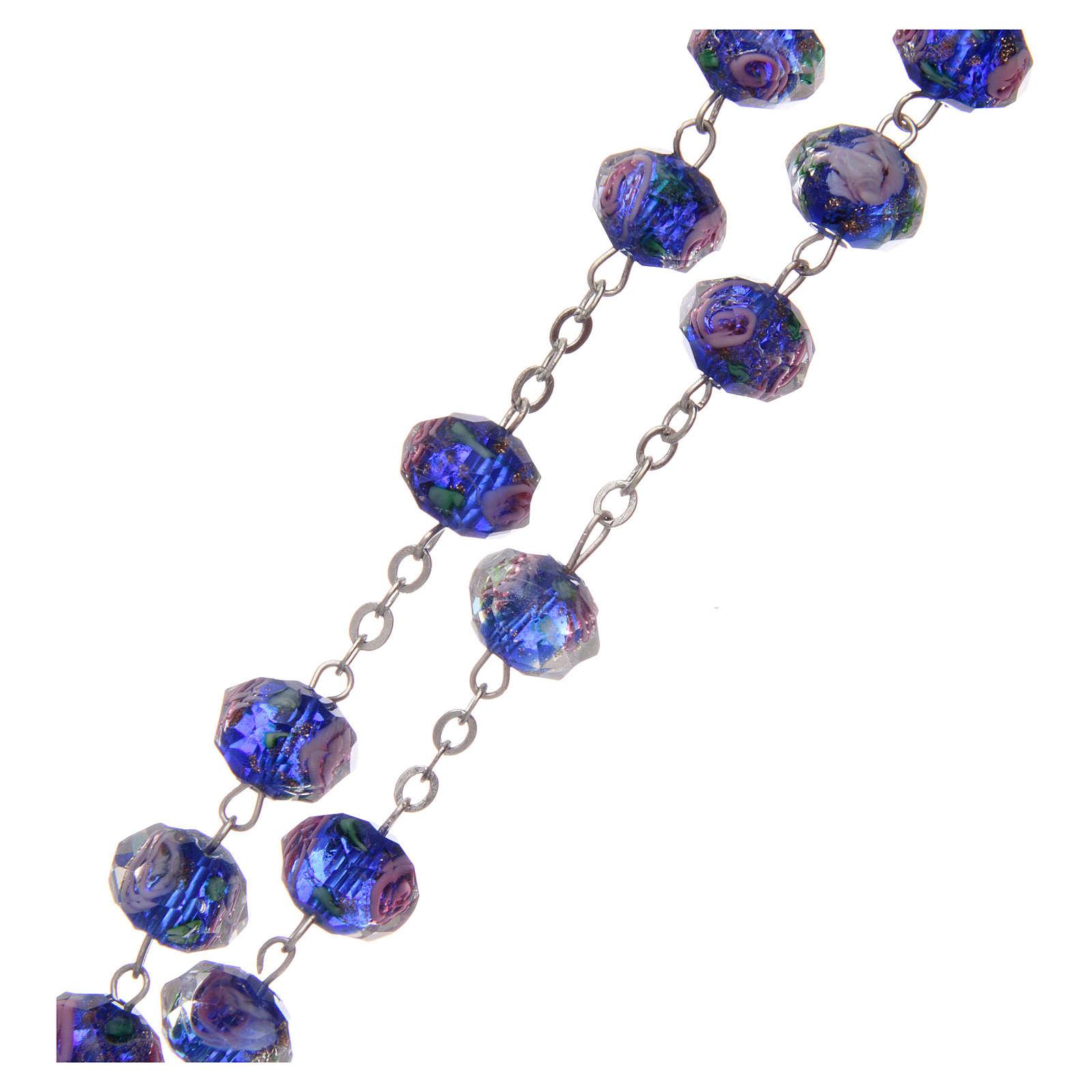 Rosario vetro blu con roselline 9 mm 4