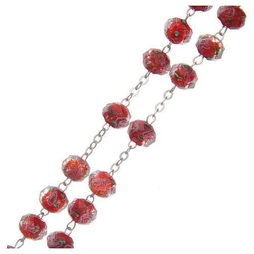 Rosario vetro rosso con roselline 9 mm 3