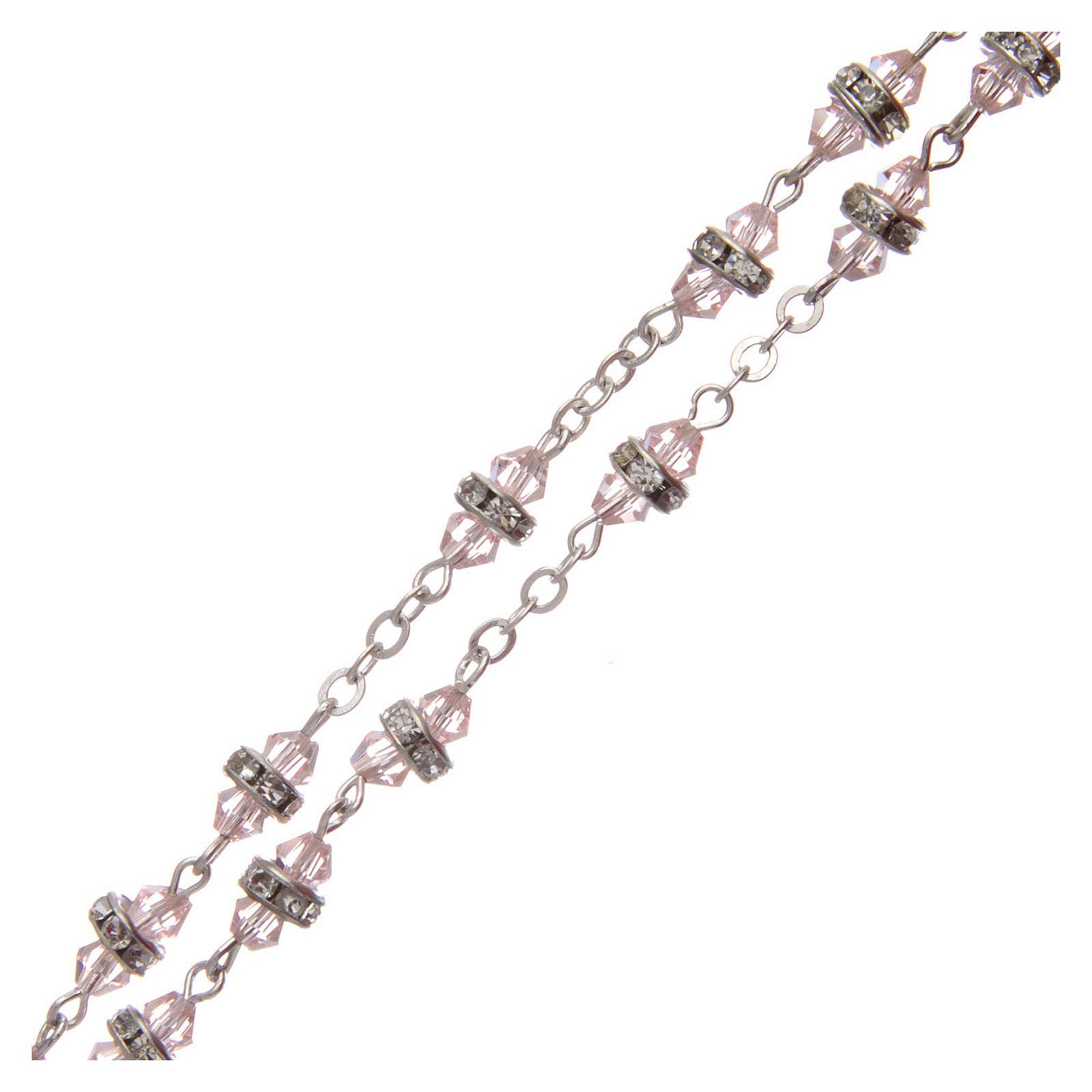 Rosario semicristallo rosa con strass bianchi 9x5 mm 4