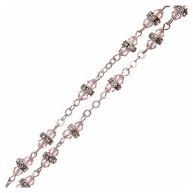 Rosario semicristallo rosa con strass bianchi 9x5 mm s3