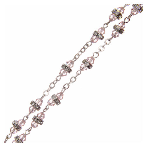 Rosario semicristallo rosa con strass bianchi 9x5 mm 3