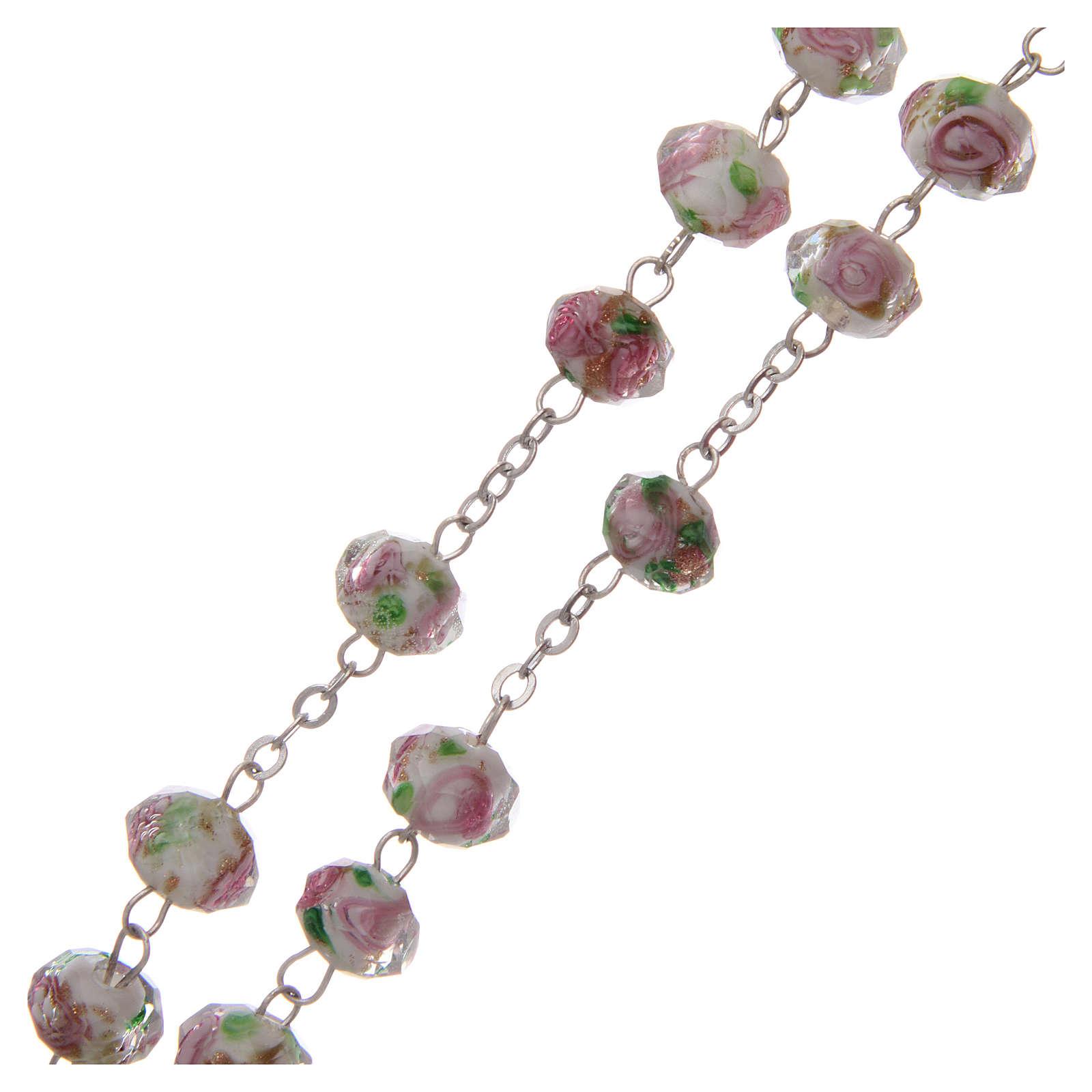 Rosario vetro bianco con roselline rosa 9 mm 4