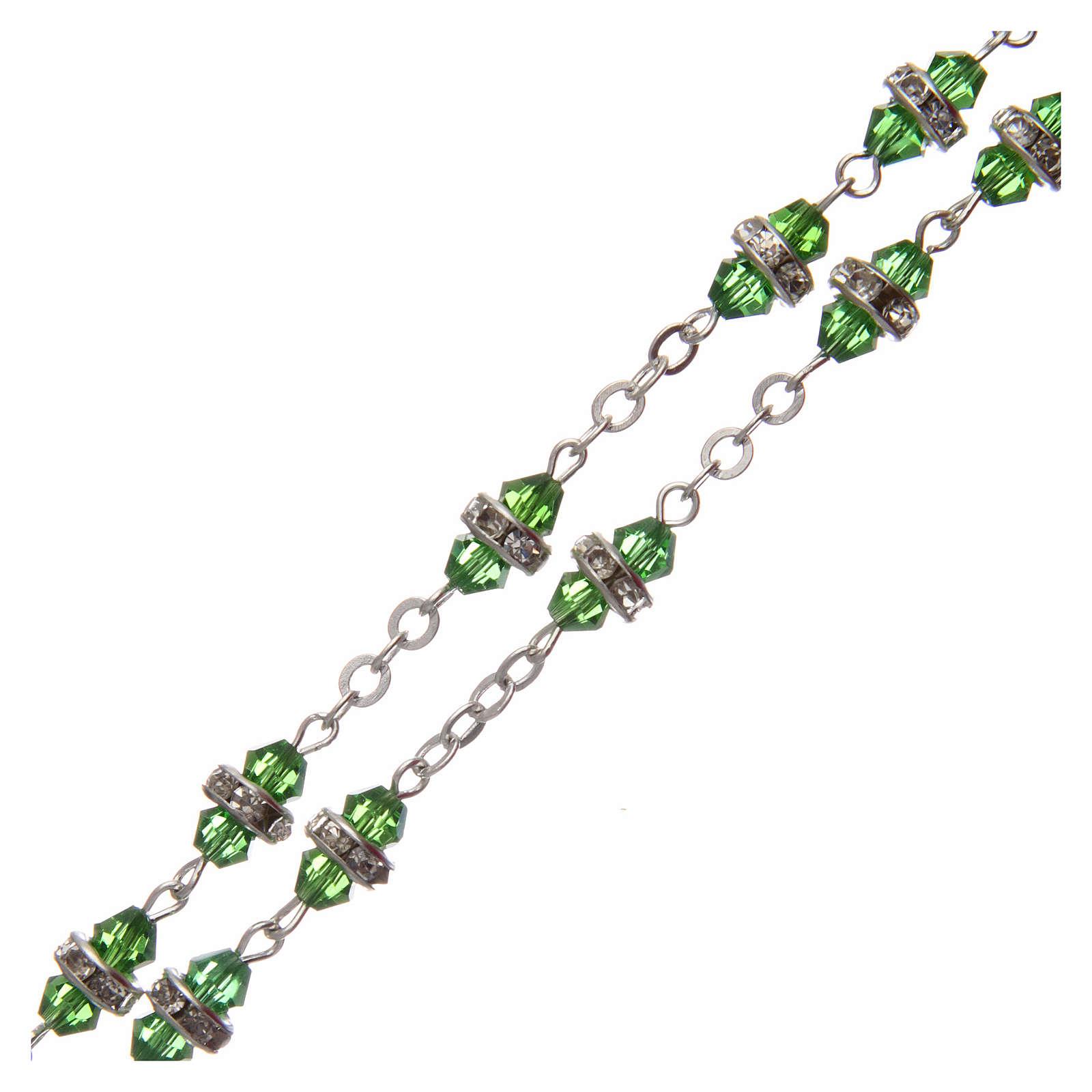 Rosario medio cristal verde con cuentas strass blancos 8x6 mm 4