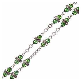 Rosario medio cristal verde con cuentas strass blancos 8x6 mm s3