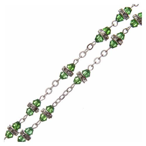 Rosario medio cristal verde con cuentas strass blancos 8x6 mm 3