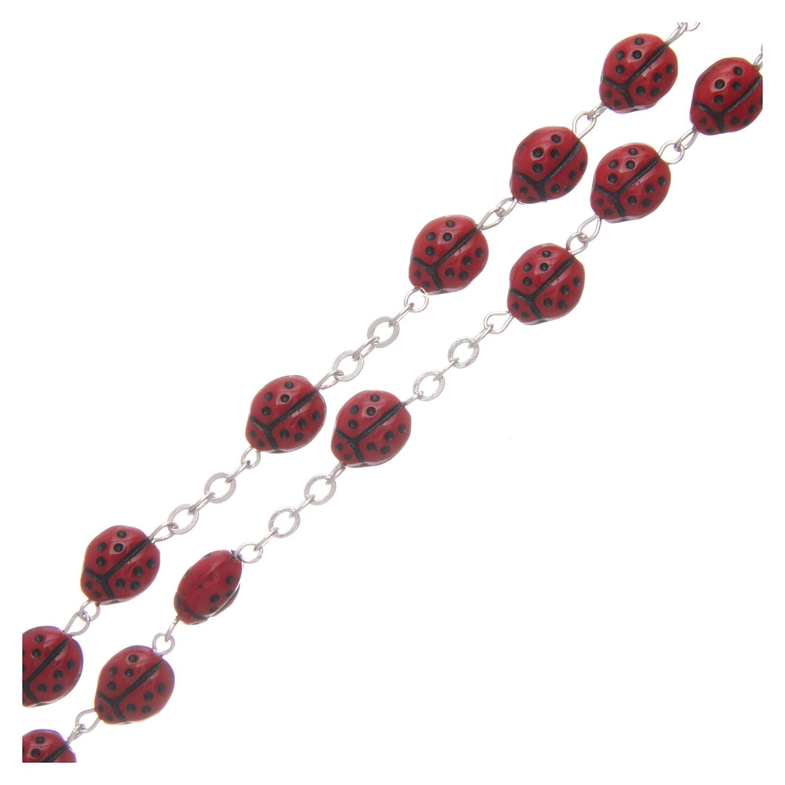Rosario vetro rosso coccinella 8 mm 4