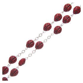Rosario vetro rosso coccinella 8 mm s3